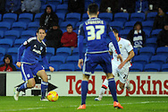Cardiff City's Peter Whittingham (l) plays a ball towards Tom Lawrence (37). Skybet football league championship match, Cardiff city v MK Dons at the Cardiff city stadium in Cardiff, South Wales on Saturday 6th February 2016.<br /> pic by Carl Robertson, Andrew Orchard sports photography.