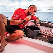 Leg 6 to Auckland, day 15 on board MAPFRE, Xabi Fernandez shaving his face. 21 February, 2018.
