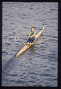 London. United Kingdom.  Rachel HIRST /STANHOPE 1990 Scullers Head of the River Race. River Thames, viewpoint Chiswick Bridge Saturday 07.04.1990<br /> <br /> [Mandatory Credit; Peter SPURRIER/Intersport Images] 19900407 Scullers Head, London Engl