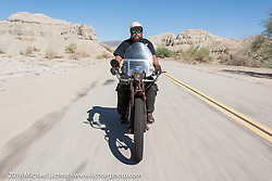 Clint Funderburg of Oregon riding his 1916 Indian during the Motorcycle Cannonball Race of the Century. Stage-14 ride from Lake Havasu CIty, AZ to Palm Desert, CA. USA. Saturday September 24, 2016. Photography ©2016 Michael Lichter.