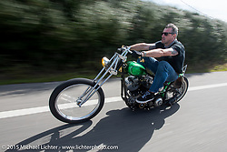 Carsten Fritzen of Ft Mill, SC riding his custom 1981 Harley-Davidson Shovelhead on A1A to Flagler Beach during Daytona Beach Bike Week  2015. FL, USA. Friday, March 13, 2015.  Photography ©2015 Michael Lichter.