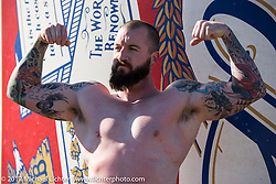 Big Joe Lingley of Live Free Cycle, Hampton, NH after winning his Coleslaw Wrestling match match against the long standing champion at the Cabbage Patch during Daytona Bike Week. (Joe is reported to be the first male to wrestle in the slaw.) New Smyrna Beach, FL. USA. Wednesday March 15, 2017. Photography ©2017 Michael Lichter.