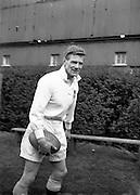 Irish Rugby Football Union, Ireland v England, Five Nations, Landsdowne Road, Dublin, Ireland, Saturday 9th February, 1957,.9.2.1957, 2.9.1957,..Referee- A I Dickie, Scottish Rugby Union, ..Score- Ireland 0 - 6 England, ..Irish Team, ..P J Berkery, Wearing number 15 Irish jersey, Full back, Landsdowne Rugby Football Club, Dublin, Ireland,..A J O'Reilly, Wearing number 14 Irish jersey, Right wing, Old Belvedere Rugby Football Club, Dublin, Ireland,  ..N J Henderson, Wearing number 13 Irish jersey, Captain of the Irish team, Right centre, N.I.F.C, Rugby Football Club, Belfast, Northern Ireland, ..A C Pedlow, Wearing number 12 Irish jersey, Left centre, Queens University Rugby Football Club, Belfast, Northern Ireland,..N H Brophy, Wearing number 11 Irish jersey, Left wing, University College Dublin Rugby Football Club, Dublin, Ireland, ..J W Kyle, Wearing number 10 Irish jersey, Ouside Half, N.I.F.C, Rugby Football Club, Belfast, Northern Ireland, ..A A Mulligan, Wearing Number 9 Irish Jersey, Scrum half, London Irish Rugby Football Club, Surrey, England, and, Cambridge University Rugby Football Club, Cambridge, England, ..P J O'Donoghue, Wearing  Number 1 Irish jersey, Forward, Bective Rangers Rugby Football Club, Dublin, Ireland,..R Roe, Wearing number 2 Irish jersey, Forward, London Irish Rugby Football Club, Surrey, England, ..B G Wood, Wearing number 3 Irish jersey, Forward, Garryowen Rugby Football Club, Limerick, Ireland, ..T E Reid, Wearing number 4 Irish jersey, Forward, Garryowen Rugby Football Club, Limerick, Ireland, and, London Irish Rugby Football Club, Surrey, England, ..J R Brady, Wearing number 5 Irish jersey, Forward, C I Y M S Rugby Football Club, Belfast, Northern Ireland, ..H S O'Connor, Wearing number 6 Irish jersey, Forward, Dublin University Rugby Football Club, Dublin, Ireland,..P J A O'Sullivan, Wearing  Number 7 Irish jersey, Forward, Galwegians Rugby Football Club, Galway, Ireland,...J R Kavanagh, Wearing number 8 Irish jersey, Forward, Wand