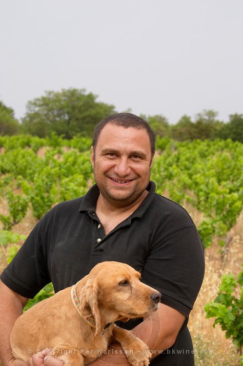 Pierre Quinonero Domaine de la Garance. Pezenas region. Languedoc. Owner winemaker. France. Europe. The Dog.