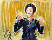 COPYRIGHT PRISCILLA COLEMANM ( ITN ARTIST )PERMISSION FOR USE MUST BE SOUGHT - 07693 237539-NOT FOR USE BY TELEVISION.ARTWORK SHOWS: MARY ARCHER IN THE STAND IN THE TRIAL OF HER HUSBAND JEFFREY ARCHER. SHE IS SHOWN HOLDING UP JEWELLERY THAT ANGELA PEPPIATT CLAIMED WAS BOUGHT FOR ANDRINA COLQUHOUN..ARTWORK BY: PRISCILLA COLEMAN ( ITN ARTIST )