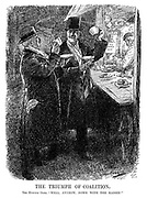 """The Triumph of Coalition. The Evicted Ones. """"Well, anyhow, down with the Kaiser!"""" (Secretary of State for the Colonies Andrew Bonar Law with Constitutional scarf and Secretary of State for War David Lloyd George with National Liberal handkerchief share tea during WW1)"""