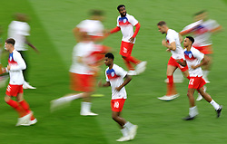 England's Marcus Rashford (centre) warms up prior to kick off during the FIFA World Cup 2018, round of 16 match at the Spartak Stadium, Moscow.