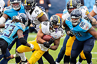NASHVILLE, TN - OCTOBER 25:  James Conner #30 of the Pittsburgh Steelers runs the ball in the second half of a game against the Tennessee Titans at Nissan Stadium on October 25, 2020 in Nashville, Tennessee.  The Steelers defeated the Titans 27-24.  (Photo by Wesley Hitt/Getty Images) *** Local Caption *** James Conner