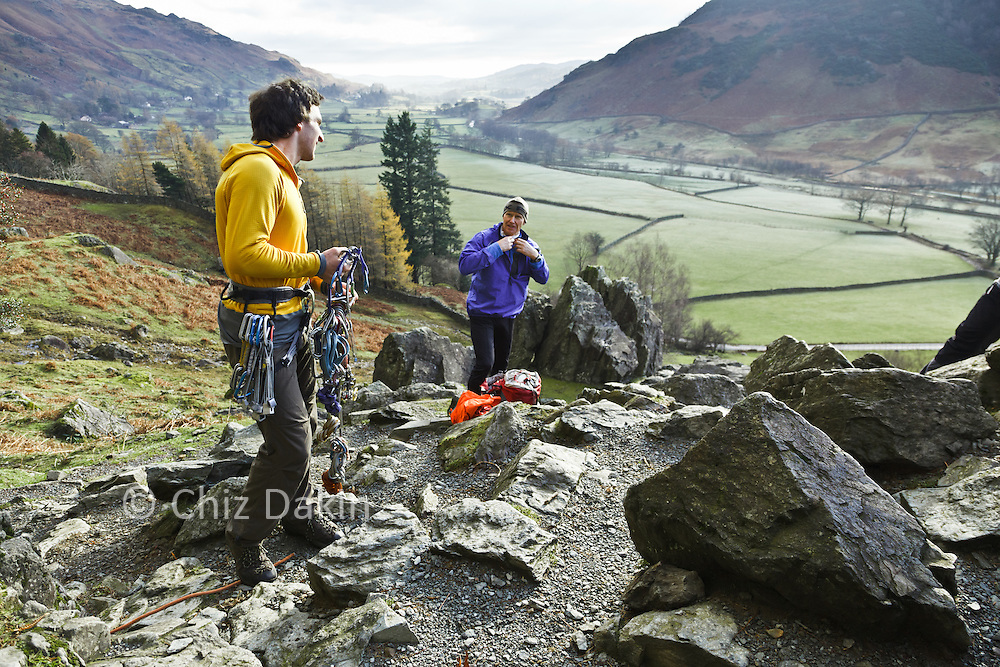 Paddy gearing up at the base of Scout Crag while his belayer (Alan Hinkes) puts on more layers to combat the cold morning air.