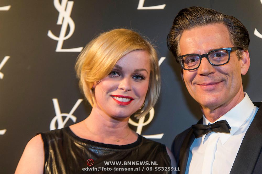 NLD/Amsterdam//20140324 - Filmpremière Yves Saint Laurent, Bridget Maasland en Theo Hopman