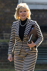 Downing Street, London, March 31st 2016. Small Business Minister Anna Soubry arrives in Downing Street for an emergency meeting of senior government officials to discuss strategies aimed at saving the British steel industry following Tata Steel's decision to close the loss-making Port Talbot steel plant at Downing Street, London. ©Paul Davey<br /> FOR LICENCING CONTACT: Paul Davey +44 (0) 7966 016 296 paul@pauldaveycreative.co.uk
