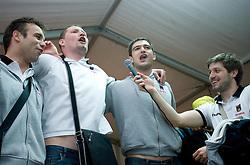 Matjaz Brumen, Rok Praznik, Bojan Skoko and Uros Rapotec singing  with fans at party after winning the  Final match of Slovenian Men Handball Cup between RK Cimos Koper and RK Celje Pivovarna Lasko, on April 19, 2009, in Arena Bonifika, Koper, Slovenia. Cimos Koper won 24:19 and became Slovenian Cup Champion. (Photo by Vid Ponikvar / Sportida)