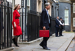 © Licensed to London News Pictures. 29/10/2018. London, UK. The Chancellor of The Exchequer Philip Hammond with the red dispatch (R) and Chief Secretary to the Treasury Elizabeth Truss (L) leave 11 Downing Street before the budget in Parliament. Photo credit: Rob Pinney/LNP