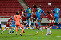 PIRAEUS, GREECE - OCTOBER 21: Action during the UEFA Champions League Group C stage match between Olympiacos FC and Olympique de Marseille at Karaiskakis Stadium on October 21, 2020 in Piraeus, Greece. (Photo by MB Media)