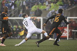October 8, 2018 - Seattle, Washington, U.S - Seattle forward WILL BRUIN (17) reaches for a pass in front of the Houston goal as the Dynamo visit the Seattle Sounders in a MLS match at Century Link Field in Seattle, WA. (Credit Image: © Jeff Halstead/ZUMA Wire)