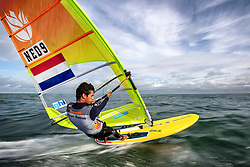 Kiran Badloe training in Scheveningen. Together with Dorian van Rijsselberghe Kiran is in the running for representing the Netherlands in the Finn class during  2020 Summer Olympics. 19 October 2019