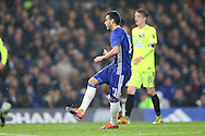 Pedro of Chelsea shoots to score his sides 4th goal to make it 4-1. The Emirates FA cup, 3rd round match, Chelsea v Peterborough Utd at Stamford Bridge in London on Sunday 8th January 2017.<br /> pic by John Patrick Fletcher, Andrew Orchard sports photography.