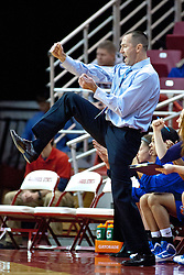 02 January 2010: Creighton Head Coach Jim Flanery reacts to the action on the court. The Bluejays of Creighton defeat the Redbirds of Illinois State University by a score of 69-44 in a Missouri Valley Conference game on Doug Collins Court in Redbird Arena in Normal Illinois.