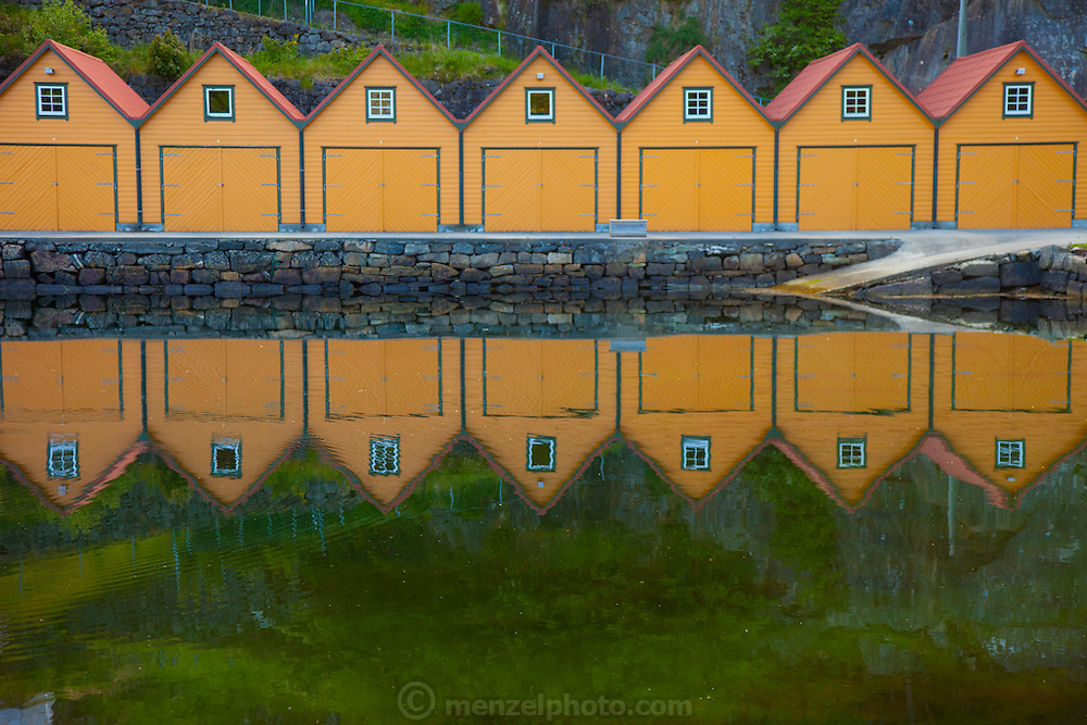 Boathouse near the vacation house on a fjord near Alversund, Norway, 35 minutes by car from Bergen.