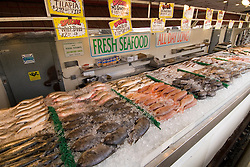 Washington DC, Food, fresh fish and shellfish market on Maine Ave, selling Chesapeake Bay blue crab and various fish, such as fillet of red snapper, all fresh and live off the boats.  Photo is of whole fresh fish for sale in the market..Photo  wash99325-70711..Photo copyright Lee Foster, www.fostertravel.com, lee@fostertravel.com, 510-549-2202.