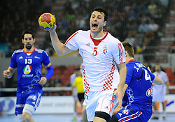 Domagoj Duvnjak shoots on goal during the match against France (Photo by Sportida Photo Agency)