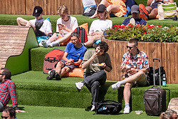 © Licensed to London News Pictures. 17/07/2021. London, UK. Visitors enjoy Regents Canal in Kings Cross as London hot weather hits a high of 28C.The next few days indicate a mini heatwave with highs of 31C.   Photo credit: London News Pictures