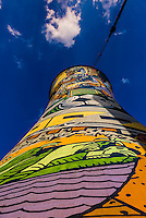 The largest mural in South Africa, Orlando Towers at the decomissioned Orlando Power Station (former coal fired power station), Soweto, Johannesburg, South Africa.