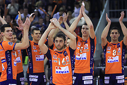 Players of ACH Volley: Sket, Cebron, Perez, Pajenk, Cuturic at volleyball match of CEV Indesit Champions League Men 2008/2009 between ACH Volley Bled (SLO) and Beauvais Oise (FRA), on December 11, 2008 in Hala Tivoli, Ljubljana, Slovenia. (Photo by Vid Ponikvar / Sportida)