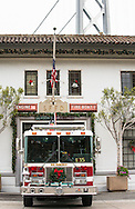 Firetruck decked out for the holidays, San Francisco, California