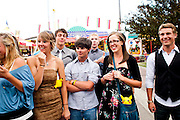 Members of the Oregon Marching Band tour around the Calgary Stampede in Alberta, Canada on July 10, 2011.