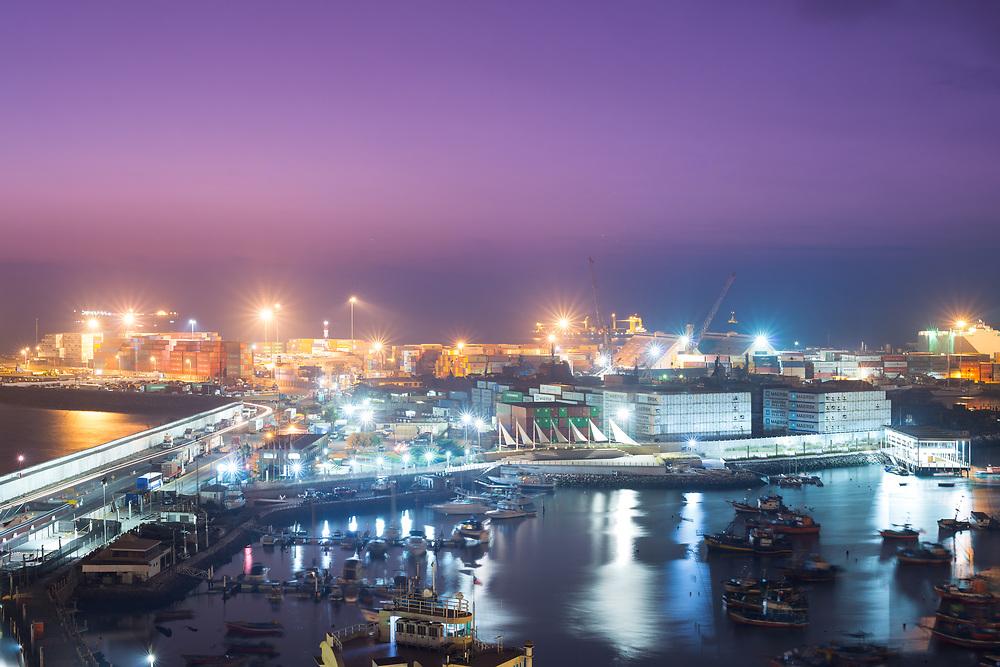 Iquique, Region de Tarapaca, Chile - Port of Iquique at night in northern Chile.