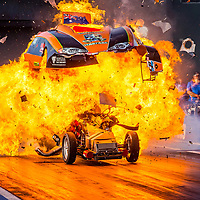 Huge bang for Anthony Begley in #ChemicalWarfare at the @PerthMotorplex - Begs is ok, hopping out of the car as soon as it pulled up, but there's not much of the car left intact. Photo copyright Phil Luyer - High Octane Photos