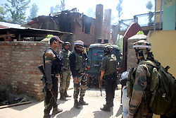 May 27, 2017 - Pulwama, Jammu and Kashmir, India - Two Hizbul Mujahideen rebels killed in a 16 hour long gun battle with government forces. Subzar Ahmed, aged 30, and a teenage boy Faizan Ahmed were the deceased in the night long encounter. (Credit Image: © Muneeb Ul Islam/Pacific Press via ZUMA Wire)