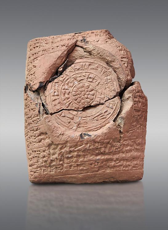 Hittite cuneiform clay tablet,  Hattusa, Hittite  Kingdom 1600-1200 BC, Bogazkale archaeological Museum, Turkey.  Grey background