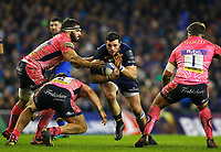 Rugby Union - 2017 / 2018 European Rugby Champions Cup - Pool Three: Leinster vs. Exeter Chiefs<br /> <br /> Leinster's Robbie Henshaw in action against Exeter's Luke Cowan-Dickie and Don Armand, at Aviva Stadium, Dublin.<br /> <br /> COLORSPORT/KEN SUTTON