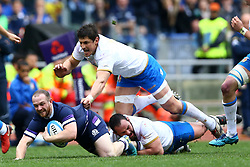March 17, 2018 - Rome, Italy - Rugby NatWest 6 Nations: Italy v Scotland..Nick Grigg of Scotland tackled by Simone Ferrari and Alessandro Zanni of Italy at Olimpico Stadium in Rome, Italy on March 17, 2017. (Credit Image: © Matteo Ciambelli/NurPhoto via ZUMA Press)