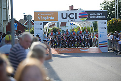 Servetto Giusta Cycling Team riders roll off the start ramp of the Crescent Vargarda - a 42.5 km team time trial, starting and finishing in Vargarda on August 11, 2017, in Vastra Gotaland, Sweden. (Photo by Balint Hamvas/Velofocus.com)