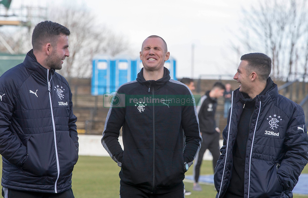 Rangers Kenny Miller (centre) with Liam Kelly (left) and Jason Holt before the William Hill Scottish Cup, fifth round match at Somerset Park, Ayr.