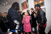 RAYE COSBERT; DIONNE BROMFIELD; ( POP SINGER- AMY WINEHOUSE'S GOD-DAUGHTER) HESHIMA THOMPSON,  Exhibition of Gerald Laing Graphics. Opening of the Morton Metropolis Gallery. Hosted by Serena Morton and Raye Cosbert.  London. 10 February 2010