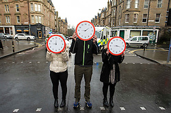 "Pictured: Three clocks show that every nine minutes an accident happens.<br /> The ""In Town, Slow Down""  road safety campaign was launched today in Edinburgh to encourage drivers to watch their speed in built-up areas, amid figures showing someone is stopped for speeding in Scotland every nine minutes. Superintendent Fraser Candlish from Police Scotland, and John Alexander from Scottish Ambulance Service were on hand to help with the launch<br /> Ger Harley 