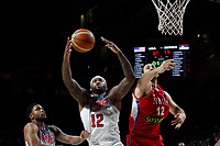 United States´s Cousins (C) and Serbia´s Krstic during FIBA Basketball World Cup Spain 2014 final match between United States and Serbia at `Palacio de los deportes´ stadium in Madrid, Spain. September 14, 2014. (ALTERPHOTOSVictor Blanco)