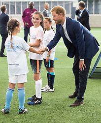 Prince Harry visits Manchester City Football Club and takes part in a Coach Core training session with Manchester's first group of apprentices in Manchester, UK, on the 4th September 2017. Picture by Arthur Edwards/WPA-Pool. 04 Sep 2017 Pictured: Prince Harry. Photo credit: MEGA TheMegaAgency.com +1 888 505 6342