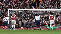 Football - 2018 / 2019 Premier League - Arsenal vs. Tottenham Hotspur<br /> <br /> Harry Kane (Tottenham FC) sends Bernd Leno (Arsenal FC) the wrong way to give Tottenham a 2-1 lead at The Emirates.<br /> <br /> COLORSPORT/DANIEL BEARHAM