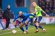 Gillingham FC forward Josh Parker (14) and Cardiff City defender Joe Bennett (3) during the The FA Cup 3rd round match between Gillingham and Cardiff City at the MEMS Priestfield Stadium, Gillingham, England on 5 January 2019. Photo by Martin Cole.