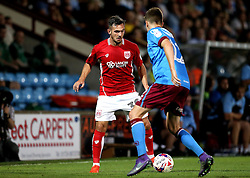 Diego De Girolamo of Bristol City takes on Conor Townsend of Scunthorpe United - Mandatory by-line: Robbie Stephenson/JMP - 23/08/2016 - FOOTBALL - Glanford Park - Scunthorpe, England - Scunthorpe United v Bristol City - EFL Cup second round