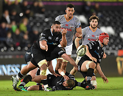 Ospreys' Ma'afu Fia<br /> <br /> Photographer Mike Jones/Replay Images<br /> <br /> Guinness PRO14 Round Round 15 - Ospreys v Southern Kings - Friday 16th February 2018 - Liberty Stadium - Swansea<br /> <br /> World Copyright © Replay Images . All rights reserved. info@replayimages.co.uk - http://replayimages.co.uk
