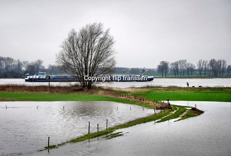 Nederland, West Maas en Waal, 6-3-2020 Het waterpeil in de rivier de Waal staat nog hoog. Uiterwaarden zijn ondergelopen, staan nog steeds onder water . Foto: Flip Franssen