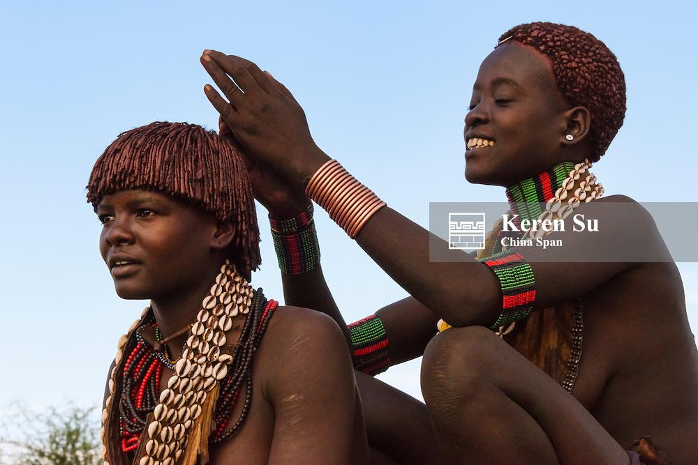 Hamar tribe woman in traditional clothing, Hamar Village, South Omo, Ethiopia