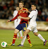Spain's Sergio Canales (l) and Norway's Elabdellaoui during international sub21 match.March 21,2013. (ALTERPHOTOS/Acero)