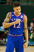 WACO, TX - JANUARY 7: Kelly Oubre Jr. #12 of the Kansas Jayhawks celebrates against the Baylor Bears on January 7, 2015 at the Ferrell Center in Waco, Texas.  (Photo by Cooper Neill/Getty Images) *** Local Caption *** Kelly Oubre Jr.